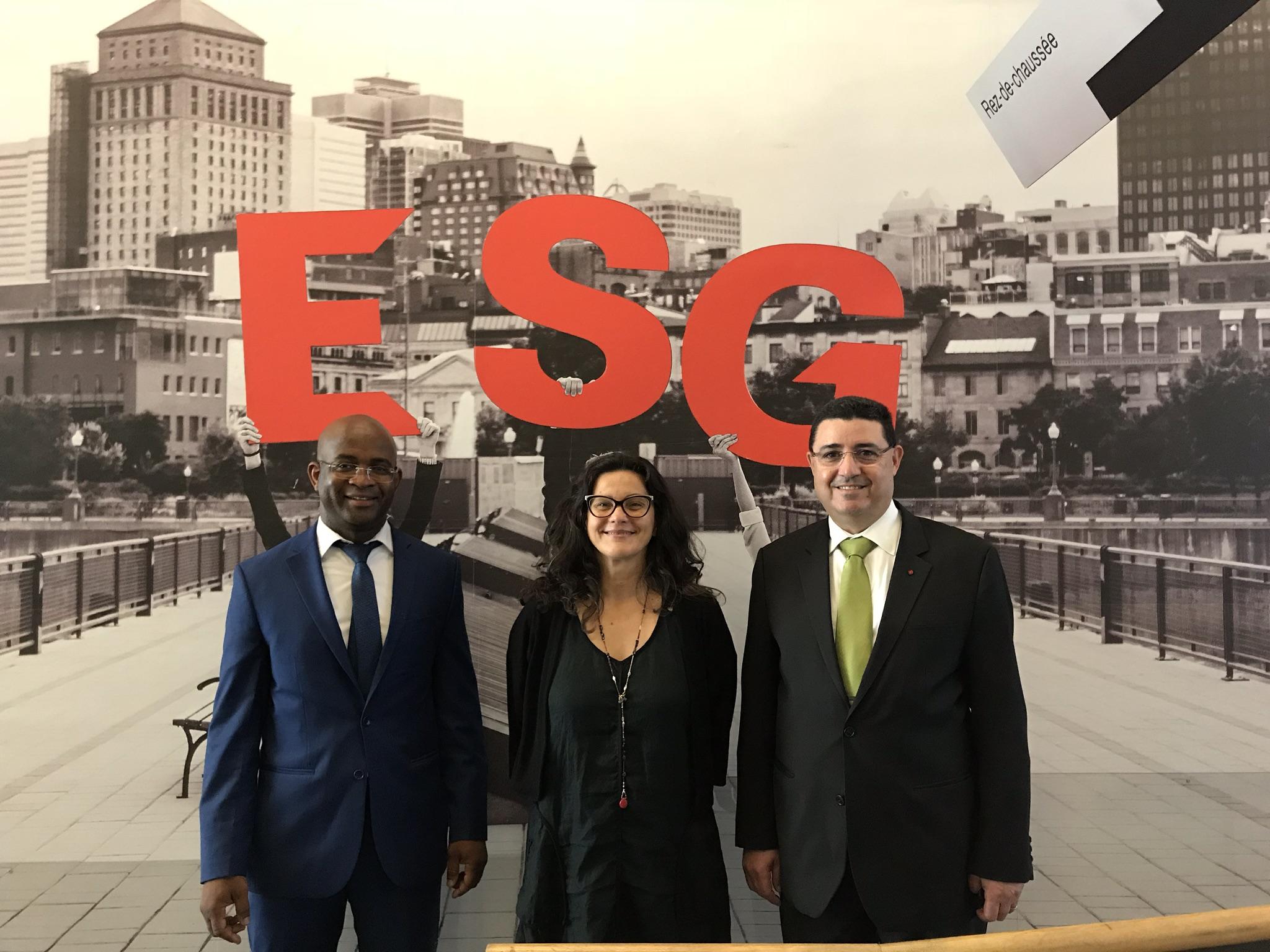 Komlan T. Sedzro, Doyen (ESG UQAM), Aude Clotteau, Directrice (ESG+ et développement des affaires de l'ESG UQAM) et Larbi Bennouna, Président directeur général (SETYM International)