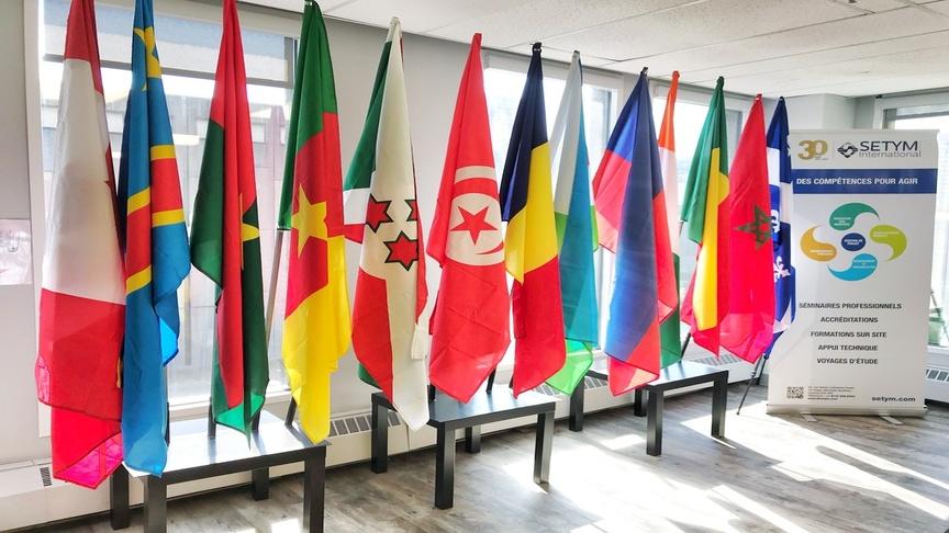 Drapeaux des pays de provenance de nos participants durant la formation sur le financement de projets en mode partenariat public-privé (PPP)